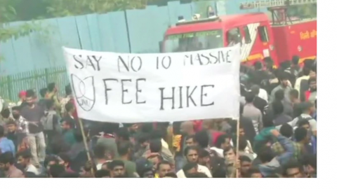 jnu protest against fee hike