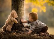 teddy bear and boy